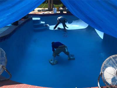 pool replastering blue plaster
