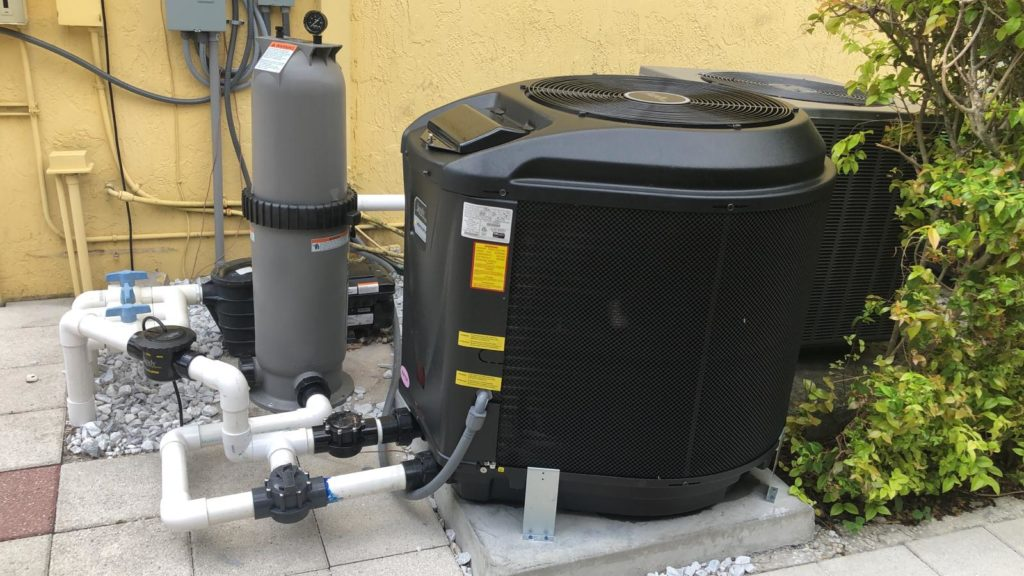 pool circulation system with sand filter, pump and heater
