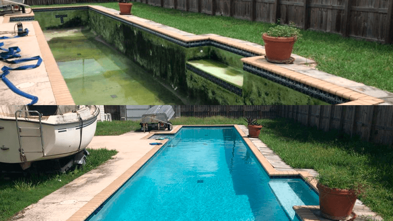 the result of a pool cleaning carried out by urban pool services