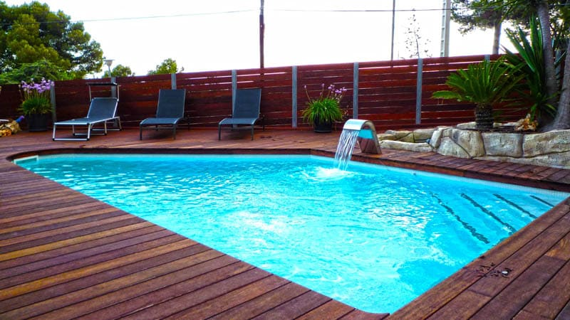 personalized swimming pool with anti-slip floor with wooden appearance in south florida