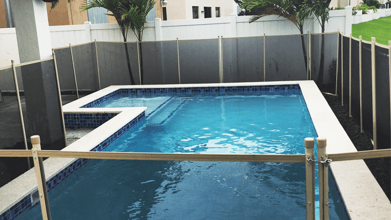 swimming pool fenced by its frame sides